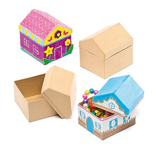 Baker Ross Diseña Tu Propia Caja en forma de Casa (paquete de 4) para que los niños pinten, decoren y personalicen para actividades de manualidades (EF963)