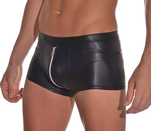 Latex ähnliche Herren Shorts mit beidseitigem Reissverschluss - Wetlook Shorts mit Zipper (XL)