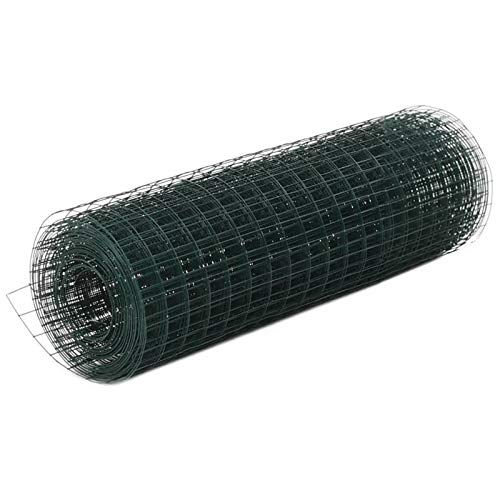 Engfgh 1m X 18m Cerca De Alambre De Pollo Verde PVC Recubierto Galvanizado Cerca De Alambre para...