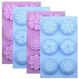 Seifenform, Seifenformen Silikon mit Blumenmotiv, 4 Stück, 6 Mulden, Rohseife DIY handgefertigte...