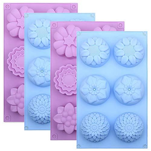 Siliconen bloem Cake Mallen Set van 4, 6-holte DIY handgemaakte zeep mallen, Dessert bakken Pannen, Siliconen Zeep Bar Mould voor Ice Cube Tray, Jelly, Mooncake, Chocolade Biscuit, Pudding, Muffin, Cupcake