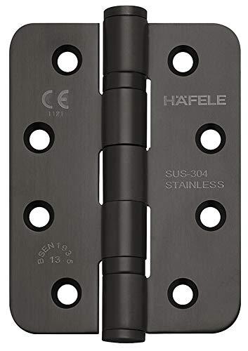 JUVA Tür-Scharnier Edelstahl schwarz matt Aufschraubband abgerundet Startec DHB3221 für ungefälzte Innentüren | Schwerlast Tragkraft bis 120 kg | 1 Stück - Aufschraubscharnier Zimmertür mit Schrauben