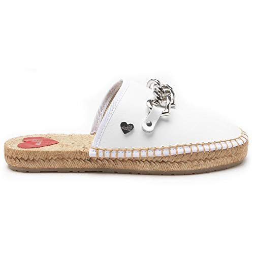 Love Moschino Chain Espadrille Mule Femme Chaussures Blanc 37 EU