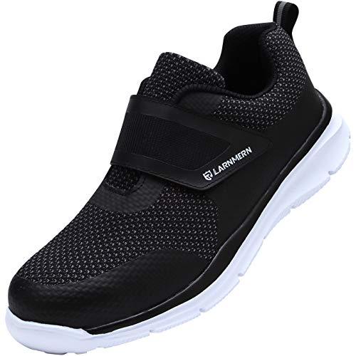 [LARNMERN] 安全靴 メンズ レディース 作業靴 おしゃれ 超軽量 セフティシューズ メッシュ スニーカー つま先保護 防刺 通気性 衝撃吸収 耐久性 通動 男女兼用(黒白、40)