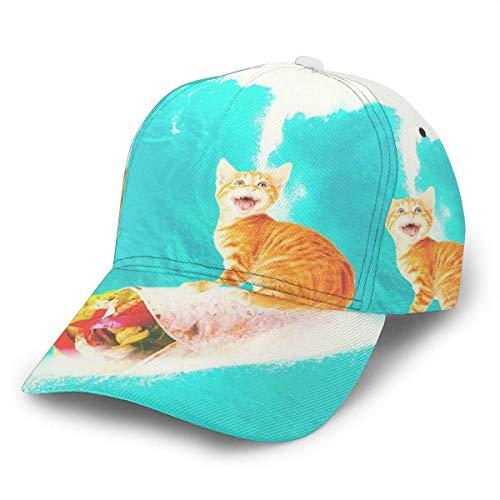 NA Gorra de béisbol unisex Kitty Cat Surfing Burrito Divertidas tablas de surf Snapback Caps Sombrero ajustable Sombreros de camionero