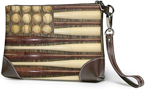DJNGN Wallet Clutch, USA Beseball Leather Clutch Bag 100% Pure Cowhide Hand Painted Leather Women's Organizer/Wristlet/Wallet
