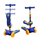 Geelife Scooter for Kids with Folding Seat 2-in-1 Scooters Great for Toddlers Girls Boys Adjustable Height with 3 PU Flashing Wheels Deluxe Kick Scooters for Children from 3 to 8 Year-Old (Blue)