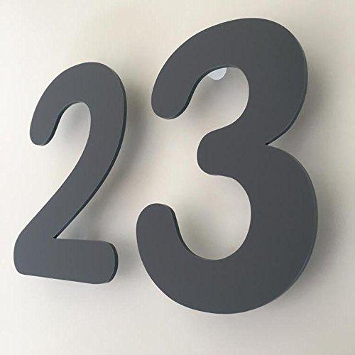 ServeWell grigio grafite opaco, finitura flottante, numeri civici - arrotondato, Grigio, 20 cm