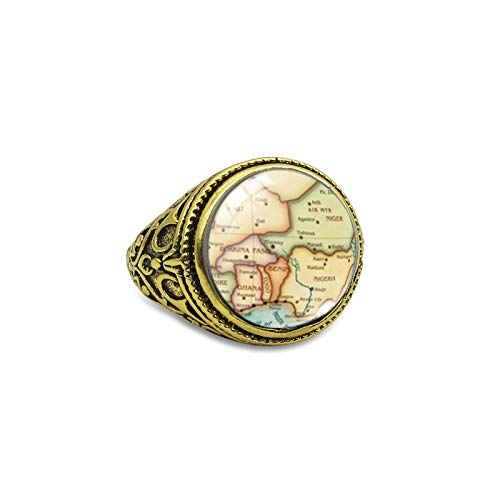 Moda Vintage Pirata Mapa Del Tesoro Anillos Antiguos Joyería Del Reino Retro Mapa Del Mundo Joyería Anillos De Cúpula De Cristal