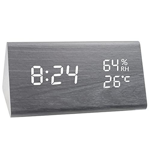 Wecker Digitaler LED Wecker Uhr Holz, Reisewecker Alarm Clock mit Sound-Kontrolle, 3 Helligkeit, Digitalwecker Tischuhr mit Sprachsteuerung/Snooze Funktion/Datum/Temperatur und Luftfeuchtigkeit