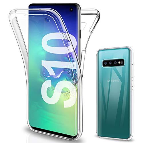 Gnews für Samsung Galaxy S10 Hülle, für Samsung S10 Schutzhülle 360 Grad Full Body Front Und Rückenschutz Handyhülle Transparent Silikon Schutzhülle TPU Bumper für Samsung Galaxy S10
