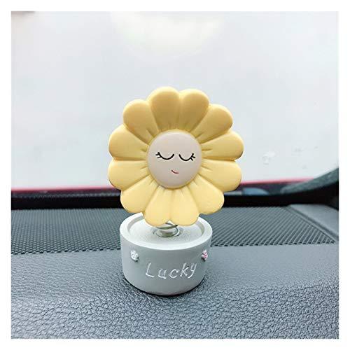 MNZDDDP Cabeza Sacudida Cabeza Sunflower Decoración Cute Sun Flowers Shake Head Ornament Coche Accesorios Interior Accesorios Tablero De Regalo Colección Juguete (Color Name : Yellow Lucky)