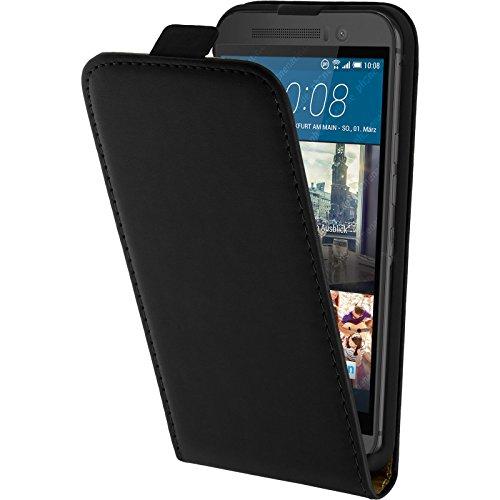 PhoneNatic Kunst-Lederhülle kompatibel mit HTC One M9 - Flip-Hülle schwarz + 2 Schutzfolien