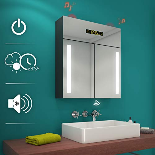 Artforma Spiegelschrank mit LED Beleuchtung anpassen (66 x 72 x 17 cm) | Badezimmerschrank, Badschrank A++ | Schalter, WETTERSTATION, Bluetooth Lautsprecher, LED Uhr, Schminkspiegel, Steckdose