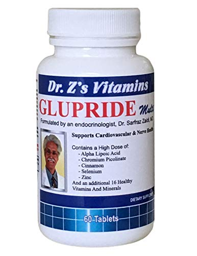 Dr. Z's Vitamins: Glupride Multi - Multivitamin with Alpha Lipoic Acid, Chromium, Cinnamon, Co Q10, Selenium, Zinc, Magnesium,Folate, Iodine, Biotin,Vit A, Vit E, Vit C, B Complex, Vanadium, Manganese