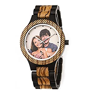 BOBO BIRD Mens Personalized Engraved Wooden Watches Quartz Casual Wristwatches for Men Family Friends Customized Gift