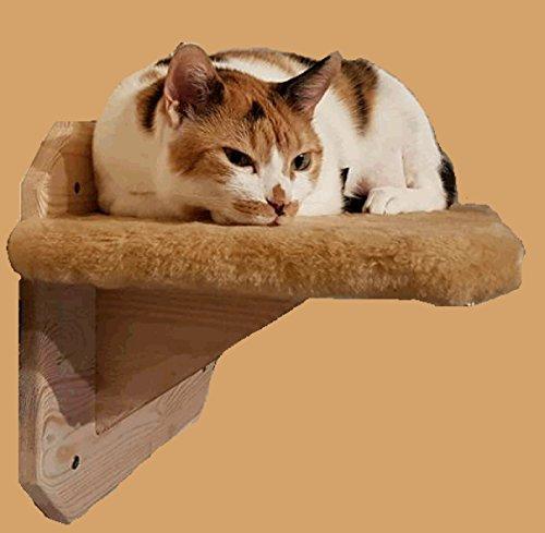 Rudloff stabiles Katzensitzbrett für die Wand - leichte Montage - für große Katzen - Sitzfläche 35 x 50 cm mit Stoff bezogen beige Anfrage - 5 Jahre Gewährleistung auf Stabilität