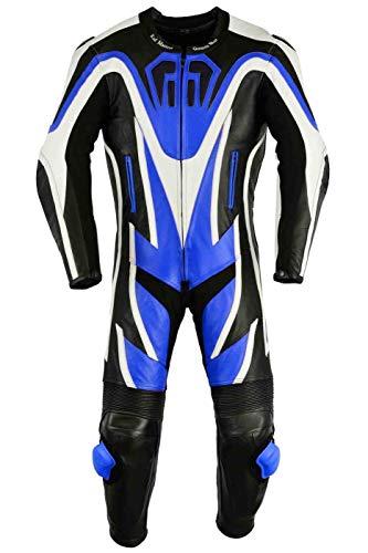 German Wear Einteiler Motorradkombi Motorrad Lederkombi aus Rindsleder echtleder Kombi, Größe:62/5XL, Farbe:Blau
