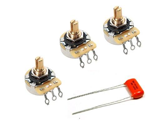 CTS 3 Potenciometros 250K A250K Audio Logarítmico Eje Corto 450GT Series + Condensador Sprague Orange Drop 0.022uF .022uF 223 para Bajo o Guitarra Eléctrica