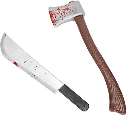 com-four® 2-teiliges Set Machete und Axt mit blutverschmierter Klinge (60 cm) zur Kostüm-Erweiterung, geeignet für Halloween, Karneval, Themenparty oder Motto Party (02-teilig - Machete/Axt)