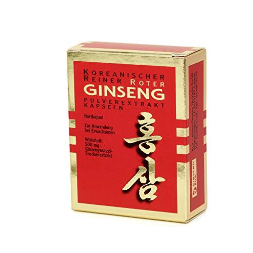 Koreanischer Reiner Roter Ginseng - 30 Pulver-Extrakt Kapseln | Freiverkäufliches Arzneimittel | Panax C. A. Meyer