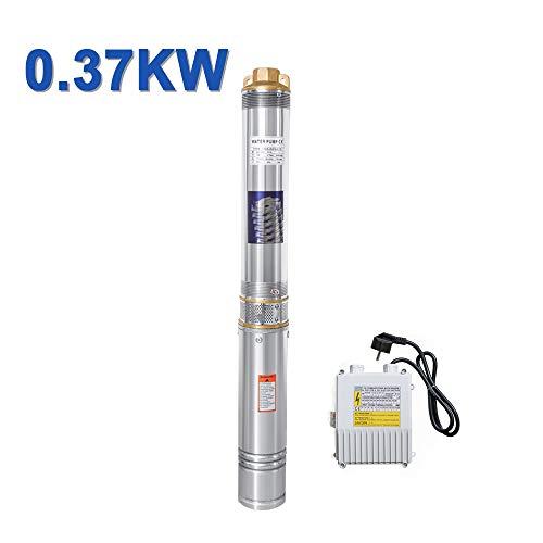 Hengda 0.37kW/0.5hp Tiefbrunnenpumpe bis 4.000 l/h Fördermenge Edelstahl Brunnenpumpe Sandverträglich Tauchdruckpumpe 3.4 bar max