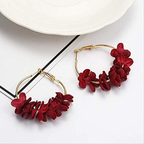 Oorbel bengelen stof Bloem oorbellen voor dames Verklaring kleurrijke bloemblaadjescirkel Grote fancy oorbel sieradenrood 2