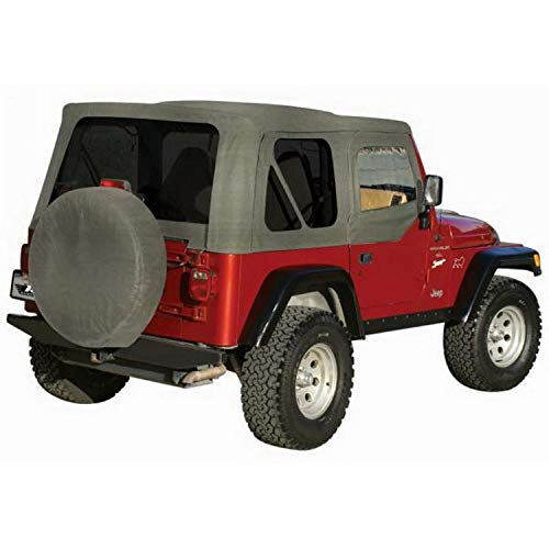 RAMPAGE PRODUCTS 68211 Complete Soft Top with Frame & Hardware for 1987-1995 Jeep Wrangler YJ, with Soft Upper Doors, Grey Denim w/Tinted Windows