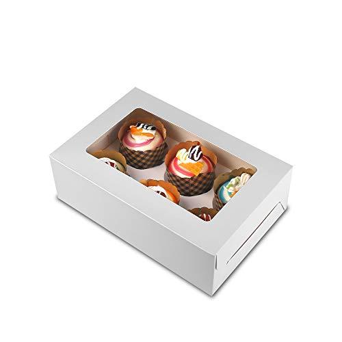 WEIMIN Lot de 10 boîtes à cupcakes 6 trous Blanc, 24 x 16 x 7,6 cm (9.45 x 6.3 x 3')