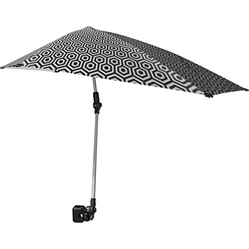 Sport-Brella Versa-Brella SPF 50+ Adjustable Umbrella with Universal Clamp, Regular, Black/White