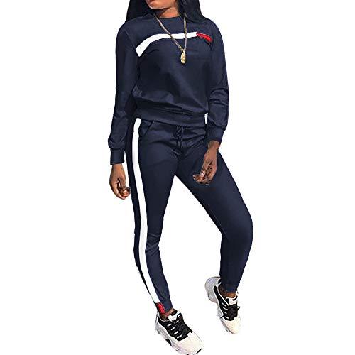 MINTLIMIT Trainingsanzug Damen 2 Stück Outfit Kurze Ärmel Streifen Jogginganzug Frauen Tracksuit Top T-Shirt Lange Hose Beiläufig Sport (Lange Marine, L)