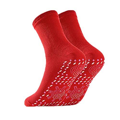 YYMM Selbstheizungssocken, thermische Fußwärmer Socken 3 Paare beheizte Socken, Winter Warme Massage Socke Unisex, für Wintersport Wanderung Skifahren,Rot