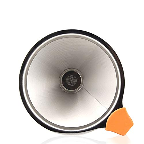 GO-AHEAD Kaffeefilter, 1 Edelstahl Kaffeefilter Dripper, wiederverwendbarer Netz Trichter Korb Filterkaffeewerkzeug Hand Filter (Color : Silver, Size : S)