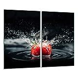 QTA - Placa protectora de vitrocerámica 2 x 30 x 52 cm 2 piezas cocina eléctrica universal para inducción protección contra salpicaduras tabla de cortar de vidrio templado como decoración Tomate