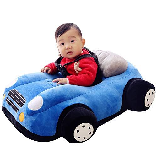 FCFLXJ Baby Plüsch Stützsitz, bequemer Kindersofa Sicherheitssitz, geeignet für Babys von 1-16 Monaten, Lernsitz Schaukelstuhl Geschenk,Blau