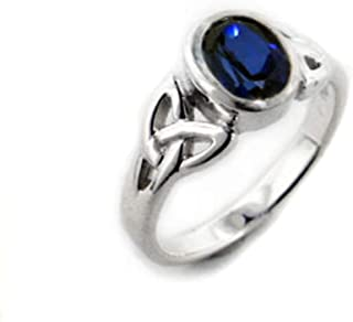 Sterling Silver Celtic Knot and Created Blue Sapphire Ring(Sizes 3,4,5,6,7,8,9,10,11,12,13,14,15)