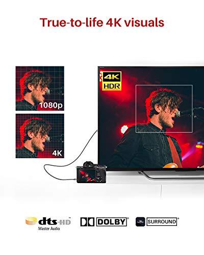 4K Micro HDMI Kabel 2M, iVANKY Micro HDMI auf HDMI Kabel 4K kompatibel mit HDMI 2.0, 4K@60Hz and 2K@165Hz, 3D Video, HDR, UHD, HDCP, Ethernet, Dolby TrueHD und mehr - Dunkelgrau