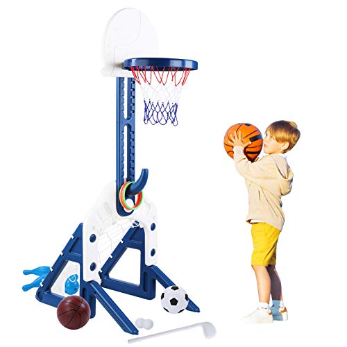 Bamny Panier de Basket pour Enfants 5 en 1, Panier de Basket Enfant / Football / Bowling / Golf / Jeux D'anneaux, Hauteur Réglable pour Les Enfants de 1 à 5 Ans