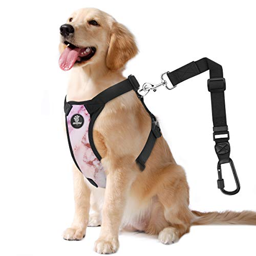 VavoPaw Dog Vehicle Safety Vest Harness, Adjustable Soft Padded Mesh Car Seat Belt Leash Harness with Travel Strap and Locking Carabiner for Most Cars, Size Extra Large, Marble Purple