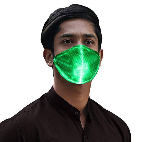 LED Light up Face Mask Luminous Glowing Costume Masks for Party Festival Dance Gift,7 Color Lights