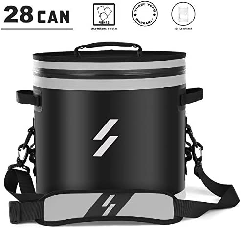 Boating or Beach Picnics CBRSPORTS Large Soft Sided Cooler Bag for 30 Beer Cans TPU Black for Camping Golf Portable 20L Travel Cooler Bag Cold-Holding 48 hrs Under 0℃//32℉ Hiking
