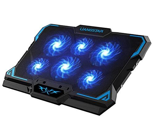LIANGSTAR Laptop Kühler Ständer für 12-17 Zoll Notebook Kühlpads Kühlmatte mit 6 Leisen LED-Lüftern, 2 USB-Anschlüsse, Schaltersteuerung Lüfterdrehzahlfunktion, 2021