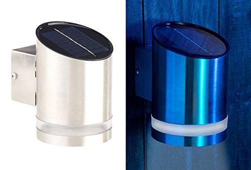 Lunartec Solar Wandlampe: Elegante Solar-LED-Wandleuchte für den Außenbereich, Edelstahl, 20 lm (Solar LED Wandleuchte für außen)