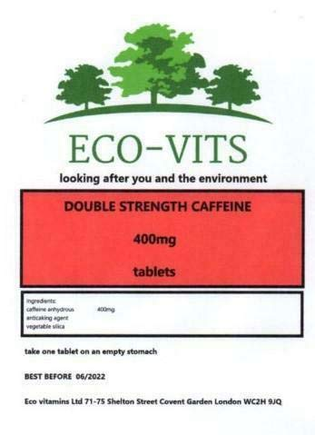 Caffeine 400mg, 60 Double Strength Tablets Stay Awake, Boost, Alertness