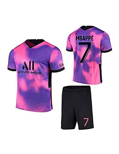 Maillot de Football Paris Away # 7 Mbappé Pink Purple Soccer Jerseys Set T-Shirt et Short...