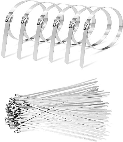FOXDISK (50 PCS 17.7 Inch 440LBS Tensile Strength) Heavy Duty Metal Zip Ties,Stainless Steel Cable Ties Exhaust Wrap Multi-Purpose Metal Locking Cable Metal Zip (17.7 Inch)
