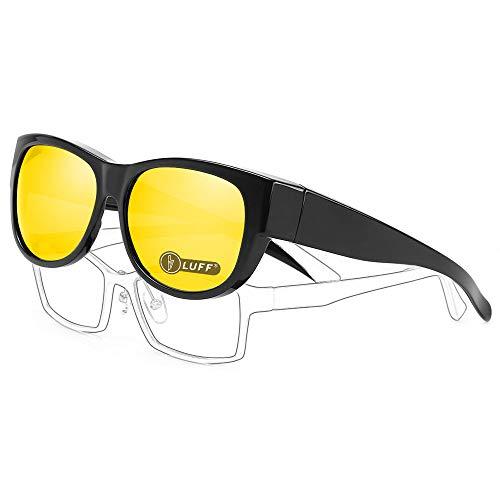 LUFF wikkelbril voor dames en heren, niet-verblindend geschikt voor brillen op sterkte voor overdag 's nachts rijden/buitensporten