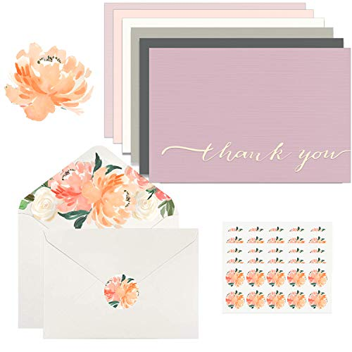 Thank you Cards - 42 Bulk Blank Gold Foil & Linen Paper Set with 6 Colors, 7 of each, Watercolor Flora Envelope & Matching Stickers, Greeting Cards for Wedding Bridal Showers Baby Showers