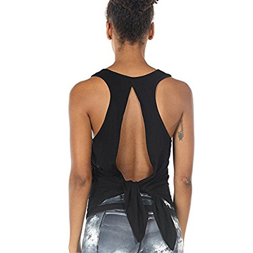 Aniywn Women Sleeveless Backless Strappy Yoga Tops Casual Running Open Back Shirts Workout Gym Clothes Black