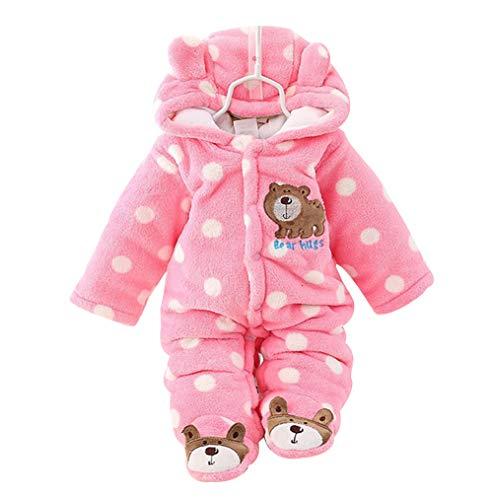 Fairy Baby Baby Schneeanzug Neugeborene Säugling Baby Kapuzen Strampler Fleece Schneeanzug Cartoon Jumpsuit Herbst Winter Outfits 0-12M Gr. 80, rose